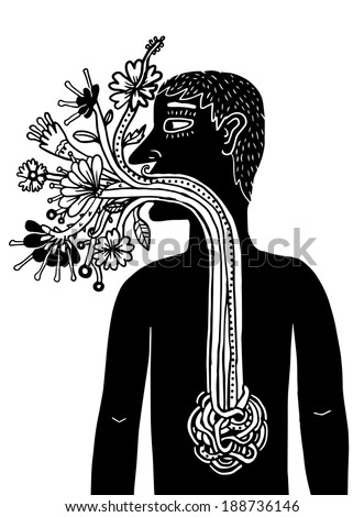 man with flowers emerging from his mouth - stock vector