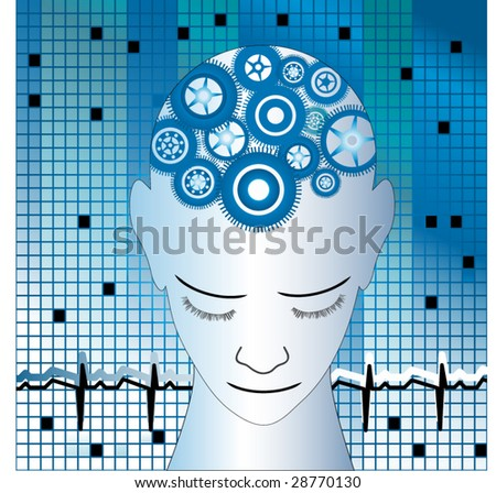 man with gears mosaic tiles and heartbeat concept - stock vector