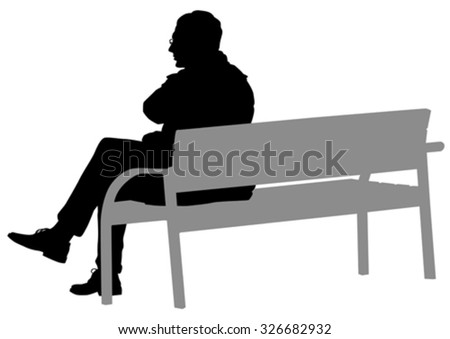 Man with glasses on a bench on a white background - stock vector