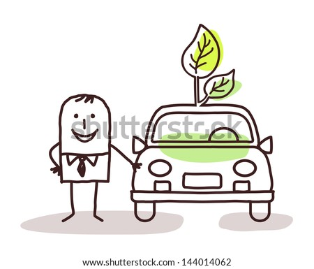 man with green car - stock vector