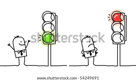 man with green & red lights - stock vector