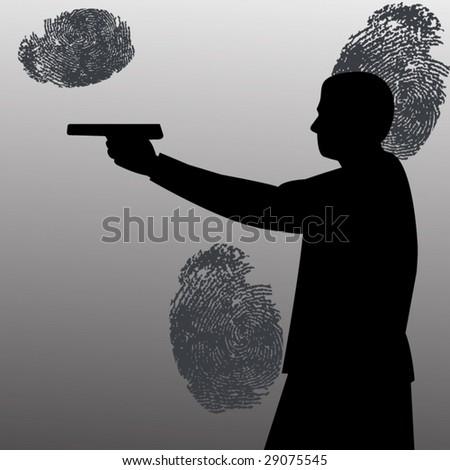 man with gun and fingerprints - stock vector