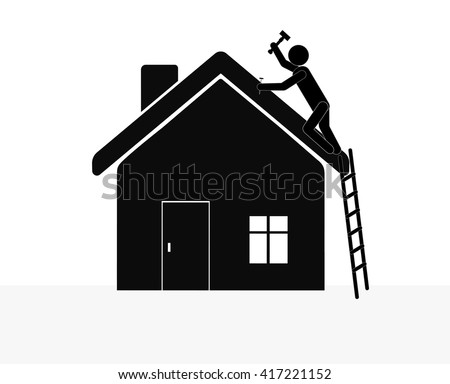 Man with hammer repairing the house. Vector. - stock vector