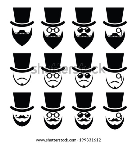 Man with hat with beard and glasses icons set  - stock vector