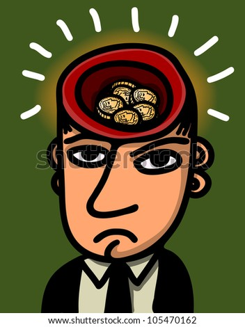 man with head full of gold coins