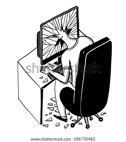 man with head inside a broken display - stock vector