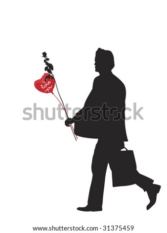 man with heart shaped balloon and rose