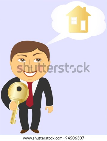 man with key and house and dreams of a new home - stock vector