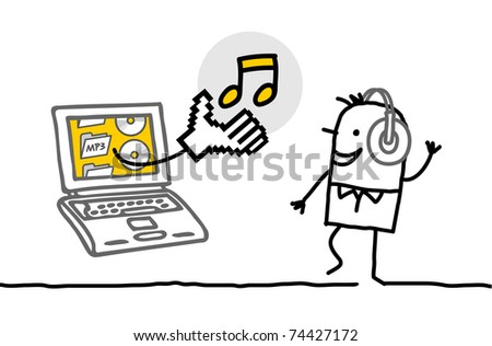 man with laptop downloading and listening music - stock vector