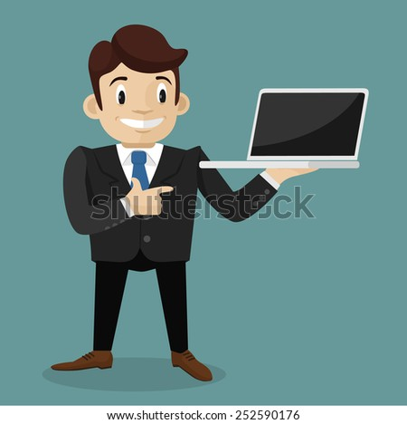 Man with laptop. Vector flat illustration - stock vector
