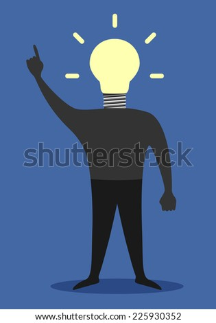 Man with light bulb instead of head in moment of insight, EPS 10 vector illustration - stock vector