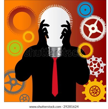 man with lightbulb as head - stock vector