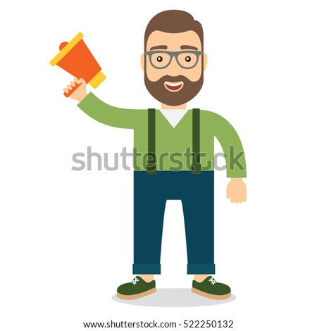 Man with megaphone. Concept flat style vector illustration.