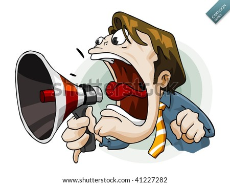 Man with megaphone. Detailed vector illustration in isolated in white. - stock vector