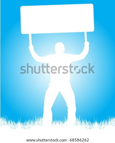 Man with message - stock vector