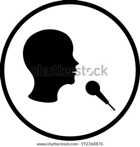 Man with microphone vector icon - stock vector