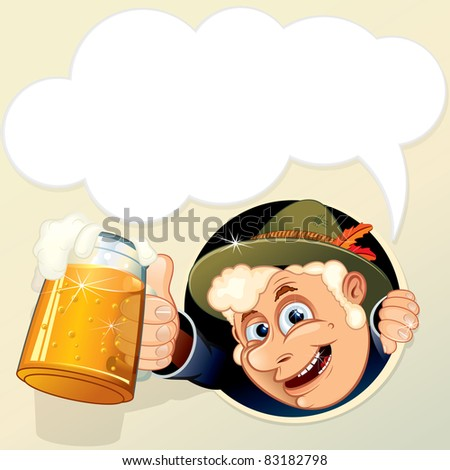 Man with Mug of Beer and empty speech bubble for your text. - stock vector