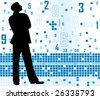 man with numbers - stock photo
