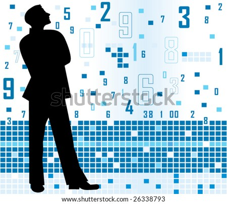 man with numbers - stock vector