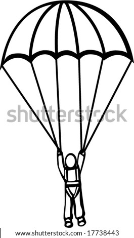 man with parachute - stock vector