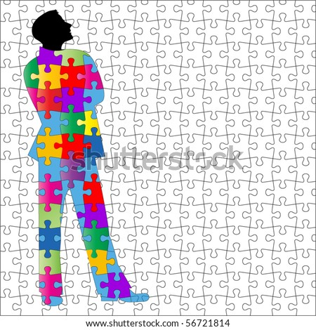 man with puzzle background and suit - all separate pieces - stock vector