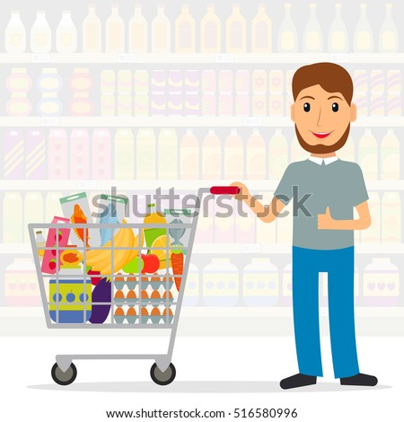 Man with shopping cart with foods in the supermarket or grocery store. Male shopper buying food. EPS10 vector illustration in flat style.