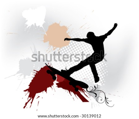man with skate and ink splash on background