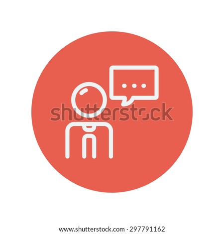 Man with speech bubble thin line icon for web and mobile minimalistic flat design. Vector white icon inside the red circle. - stock vector