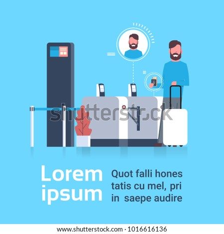 Man With Suitcase Checking In At Airport Passing Through Security Scanner For Registration Flat Vector Illustration