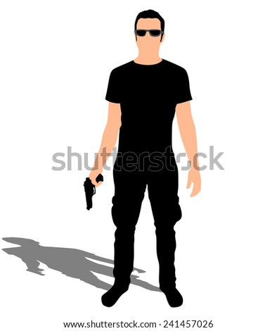 Man with sunglasses holding gun, vector  - stock vector