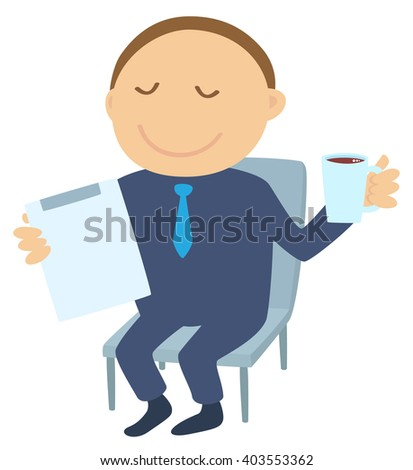 Man with tablet and cup of coffee - stock vector