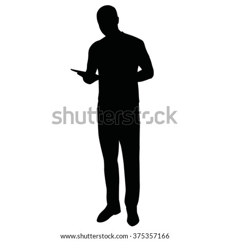 Man with tablet, vector silhouette of standing man - stock vector