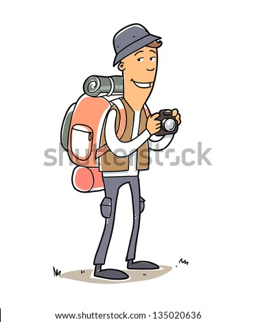 Man with tourist bag, hat and camera. Cartoon illustration isolated on white - stock vector