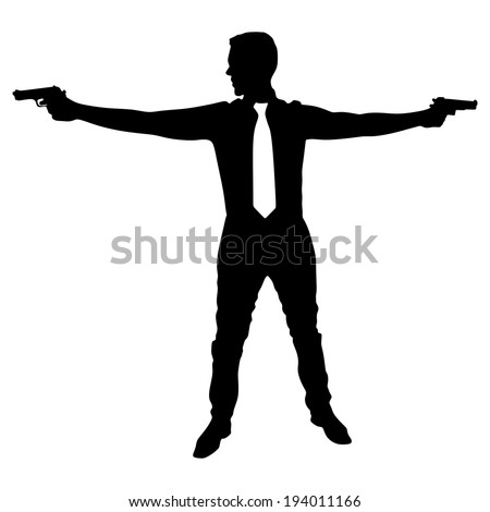 Man with two guns, vector  - stock vector