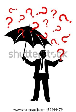 man with umbrella and question mark rain vector - stock vector