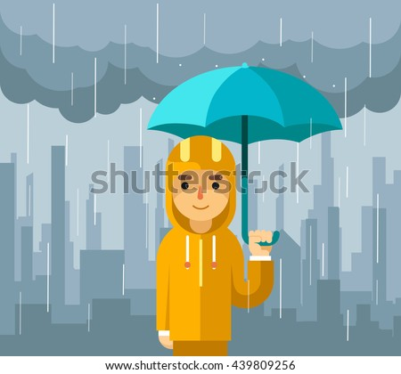 Man with umbrella standing under rain illustration. Vector illustration