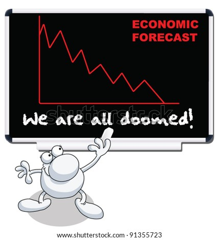 Man with we are all doomed economic forecast - stock vector