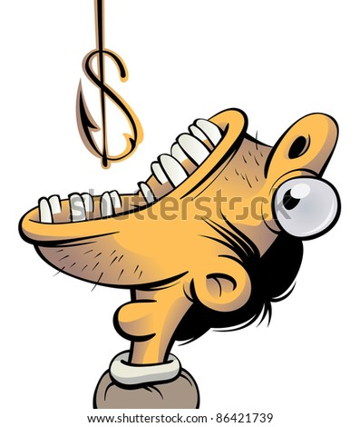 Man with wide opened mouth trying to swallow a fishing hook which looks like a dollar sign - stock vector
