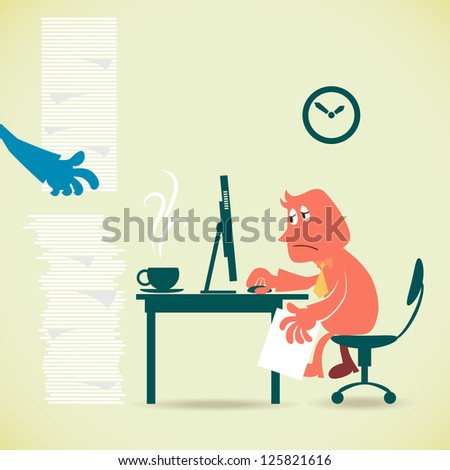 Man with workload - stock vector