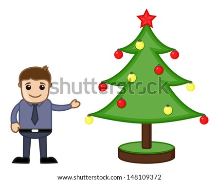 Man with Xmas Tree on Christmas - Cartoon Business Characters - stock vector