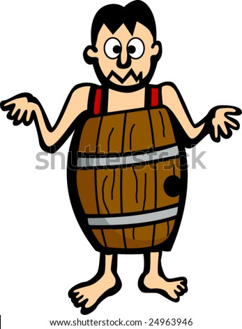 man without clothes in wooden barrel
