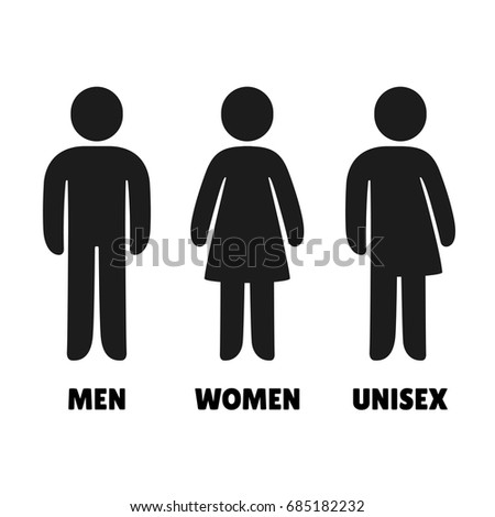 Man  Woman an Unisex vector icons  Male  female and mixed bathroom signs. Set Gender Symbols Stylized Silhouettes Male Stock Vector