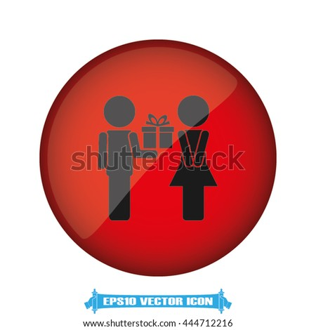 Man, woman and gift icon vector illustration eps10. - stock vector