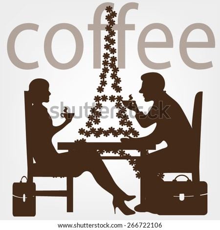 man woman coffee - stock vector