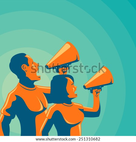 Man & woman holding loudspeaker - stock vector
