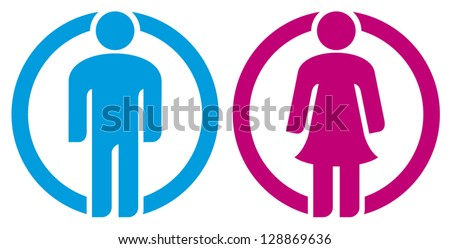 man & woman restroom sign (silhouettes of man and woman, boy girl button, wc icon, men and women toilet sign, icon male and female, man & woman icon, man and women WC sign, toilet symbol) - stock vector