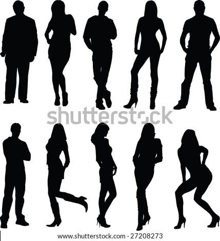 man, woman, silhouette - stock vector