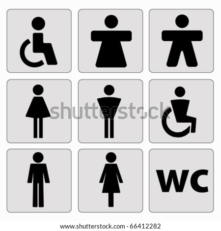 man woman toilet signs . vector - stock vector