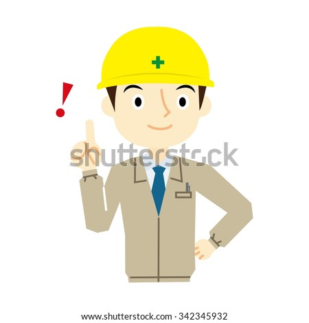Man worker pointing pose