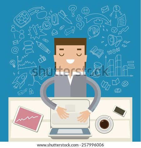 Man working at his desk. Concept of cheerfulness, recharge your batteries and beginning of the day. Flat style trendy modern design vector illustration - stock vector